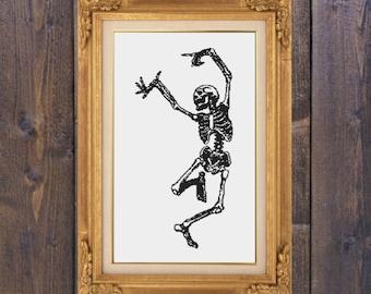 Dancing Skeleton Cross Stitch PDF Pattern