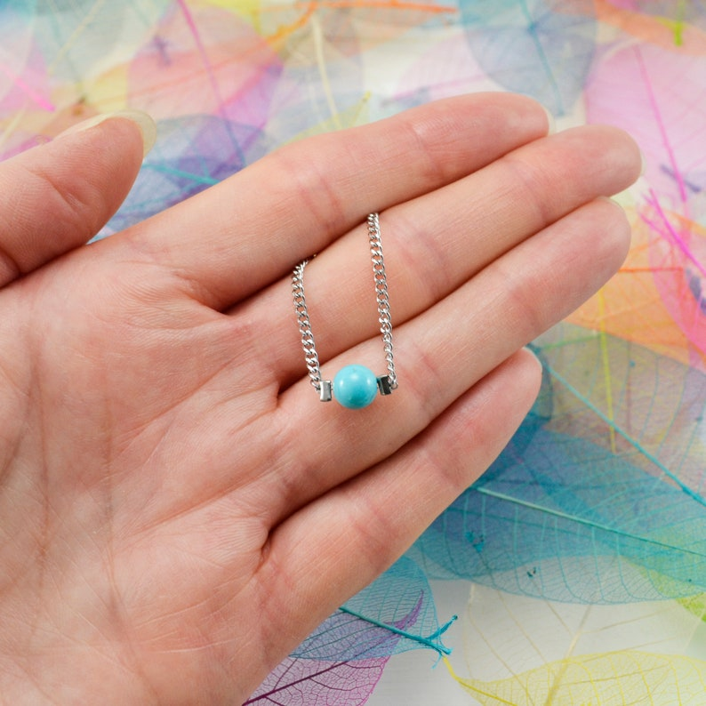 Dainty Turquoise Necklace For Women December Birthstone Gift Protection Amulet