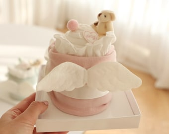 Baby Gift Set for Girl Pink / Baby shower Gift Mini Small / Angel wing romper / Diaper cake basket / ready to gifting / mother-to-be