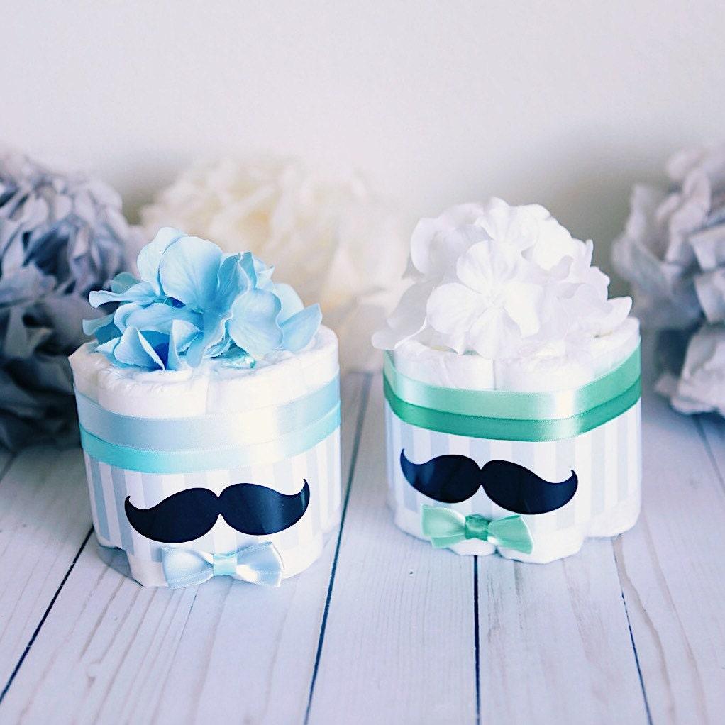 Mustache Mini Diaper Cake Baby Shower Centerpiece Decoration