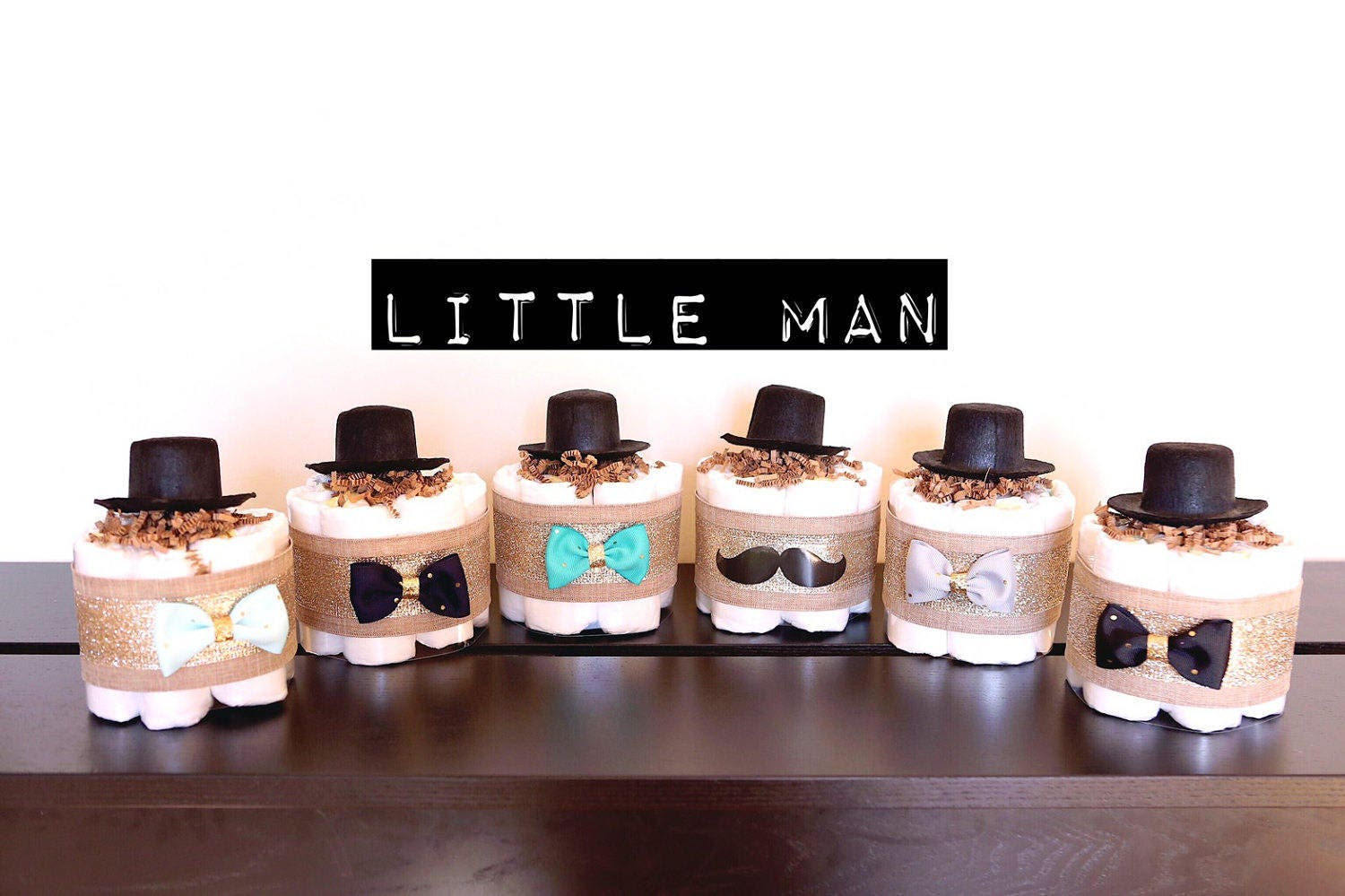 Little Man Mini Diaper Cake With Hat Baby Shower Centerpieces