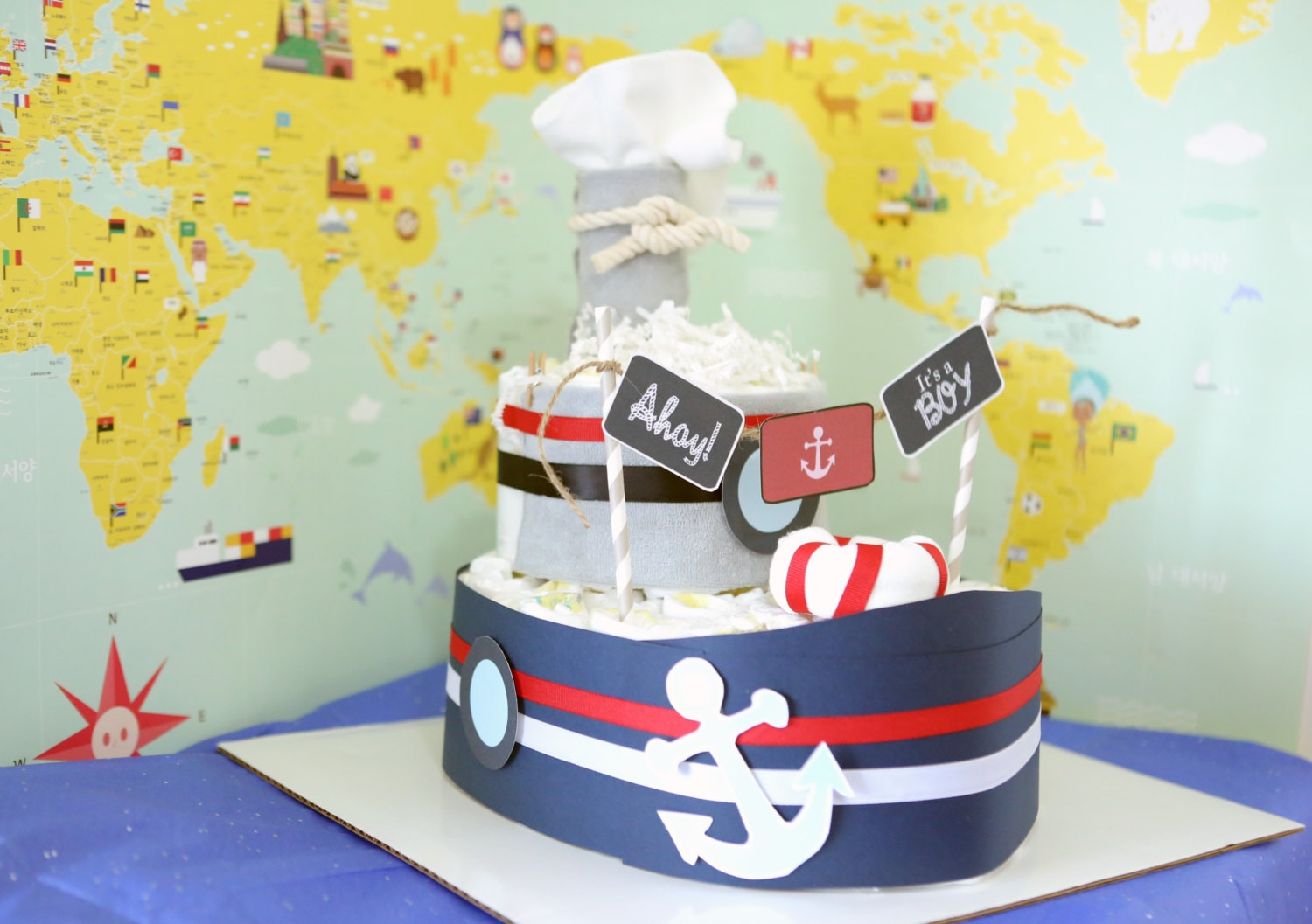 Nautical Boat Diaper Cake For Baby Boy Shower Centerpieces Decorations New Mom Unique Gifts Ship Boys Room Nursery Decor