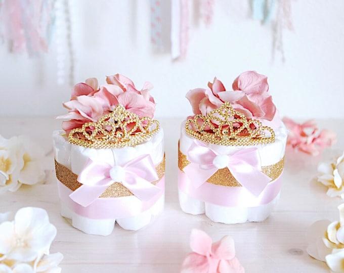 Featured listing image: Pink & Gold Princess MINI Diaper Cake