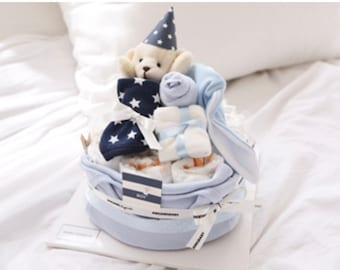 Gift Set for Baby Boy / Baby shower Gift Set in a Box / Bodysuit Bib Plush Toy Wash cloth Diapers Hat / Diaper Cake basket / Blue Navy