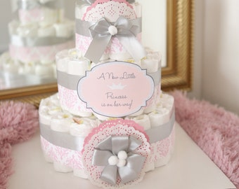 Baby Girl Damask Pink & gray Diaper Cake / Baby Shower Centerpiece decoration / Elegant princess / new mom baby shower gift / pink silver