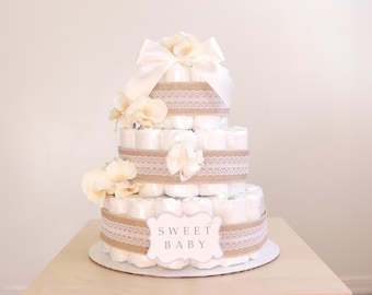 Shabby Chic Ivory Diaper Cake / Girls Baby Shower Centerpiece / Flower Elegant Princess / Lacey Burlap / tulle / decoration / gender natural