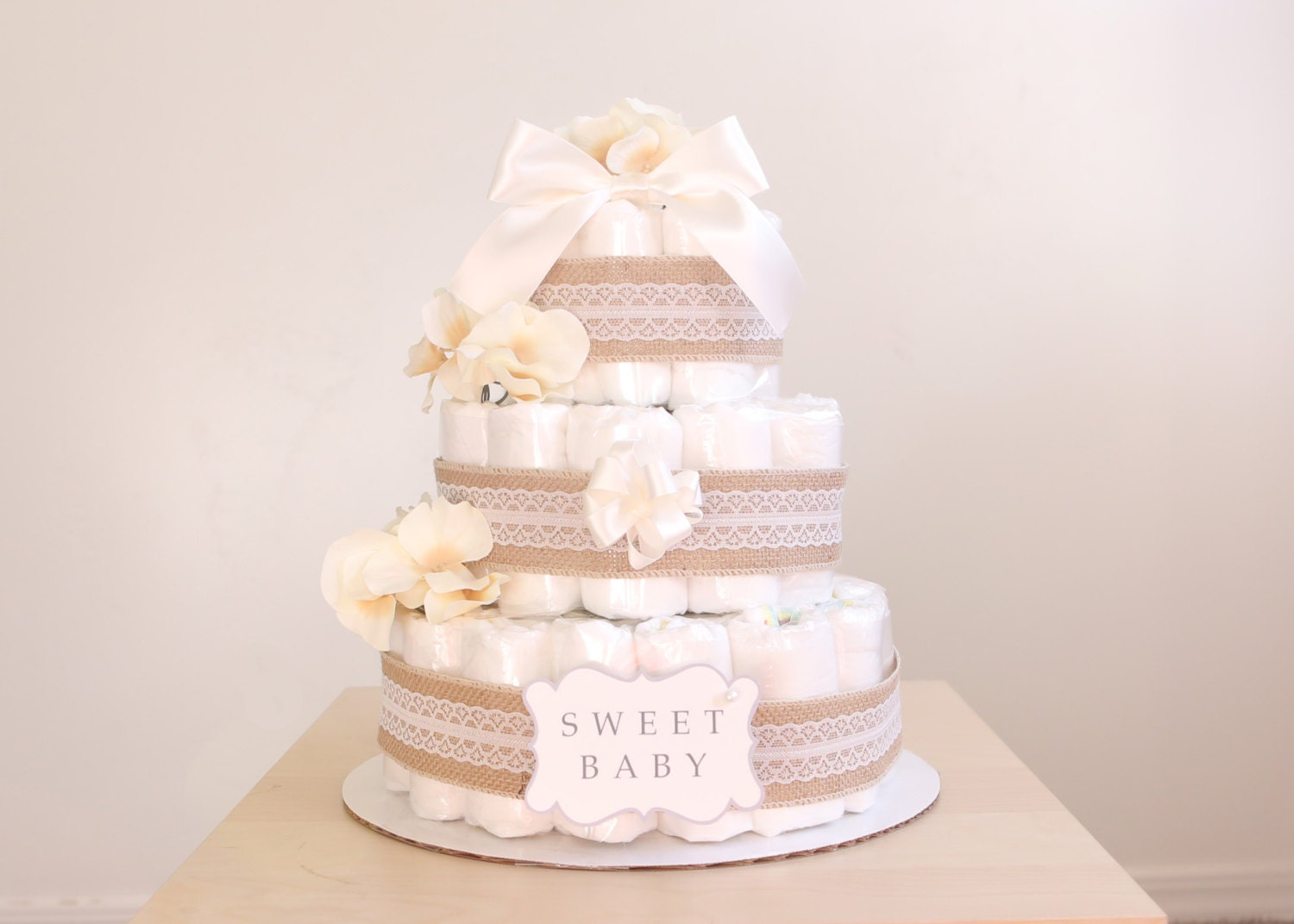 shabby chic ivory diaper cake / girls baby shower centerpiece