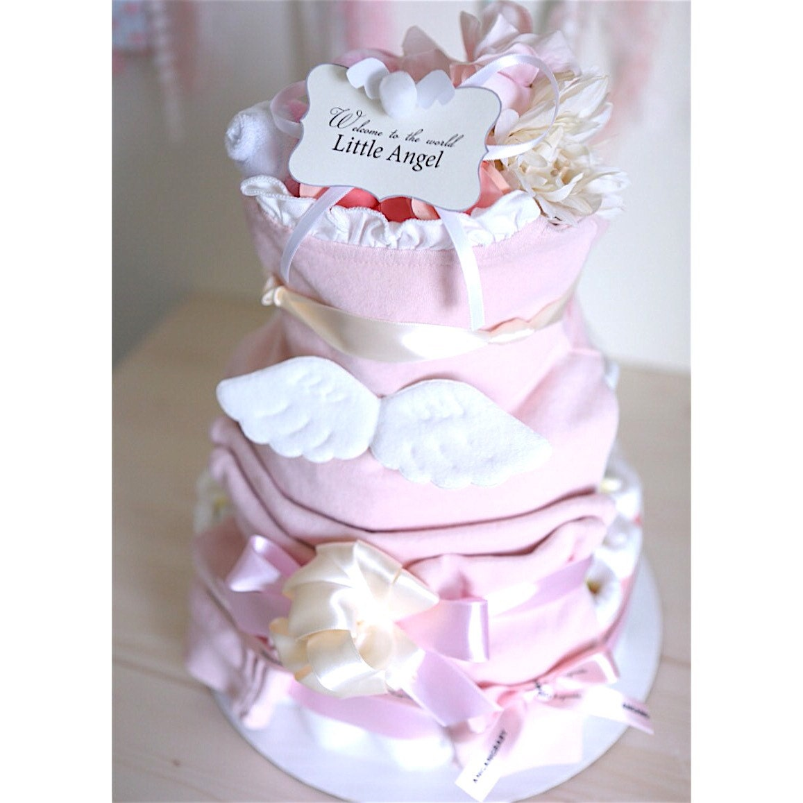 Angel Wings Diaper Cake For Baby Girl Baby Shower Centerpiece