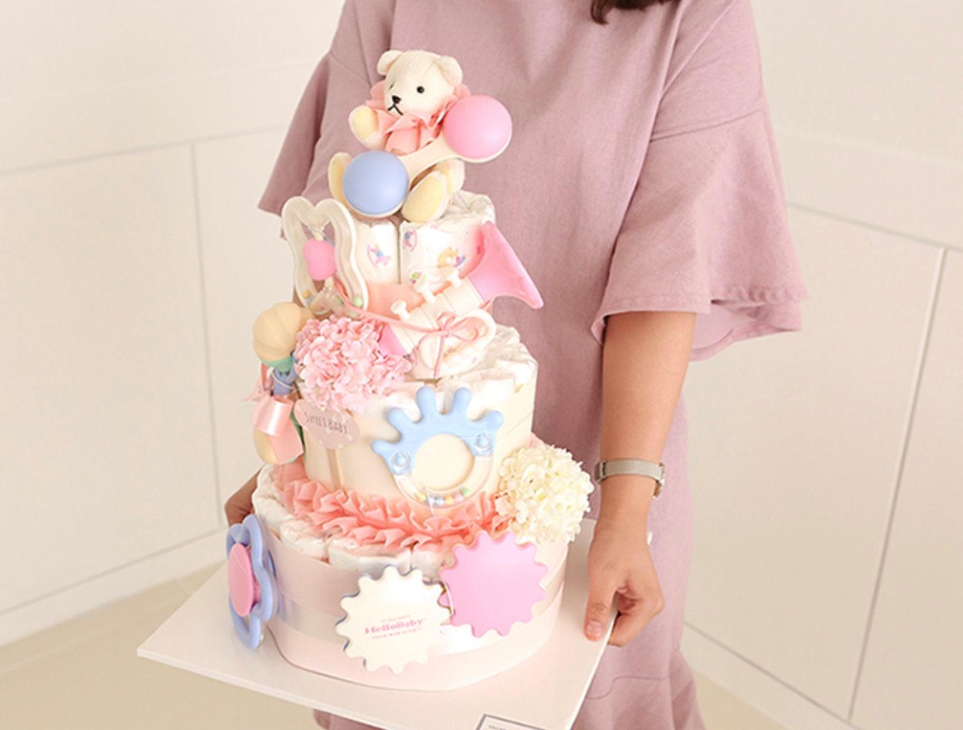 Bundle Of Joy Diaper Cake 3 Tier Pink Baby Shower Centerpiece