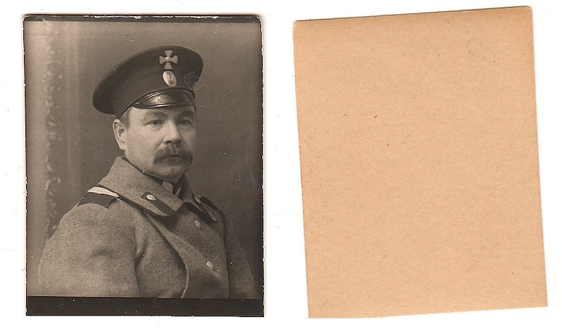 1910s Original WWI 4x3cm WW1 old photo photography vintage Army military  Russian officer Cross uniform Russia Empire (2010)