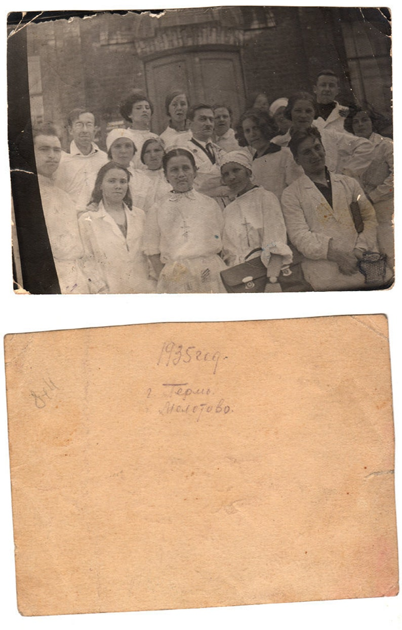 1935 original 11x8cm old photo photography vintage Young Woman lady Man Medic Hospital  Fashion Russia USSR 7783