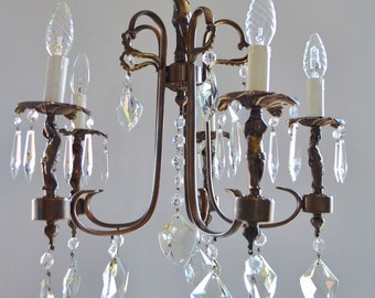 Antique CHANDELIER Cherub MURANO Crystal Prisms Italy 1950 Mid Century  Bronze French Style Kronleuchter Ceiling Lamp Shabby Chic Wedding