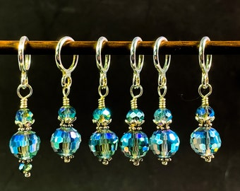 Teal Green Crystal Stitch markers for knitting, knitting/crochet gift, Snag free, size 0-13