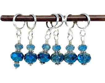 Stitch Markers for Knitting, Navy blue crystal glass stitch markers for knitting and crochet SET OF 10