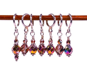 Rose Gold metallic glass stitch markers for knitting, Gift for knitting and crochet,