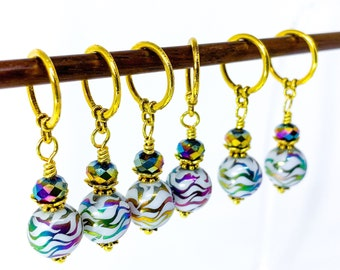 Stitch markers for Knitting, Miniature Christmas ornaments, Gold and Peacock Rainbow metallic glass bead markers, Holiday stitch markers