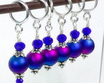 Stitch Markers for knitting and crochet, Sapphire and fuchsia frost metallic glass bead stitch markers, knitting and crochet gift