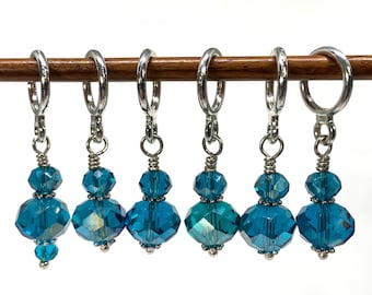 Stitch Markers for knitting, Dark Teal Blue Knitting or Crochet Stitch Marker Set, Optional silk notions bag