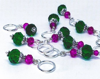 Stitch Markers for knitting, Tourmaline Green and Fuschia  crystal bead stitch marker set for knitting and crochet