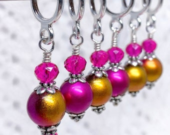 Knitting and Crochet stitch markers, Gold and fuchsia frost metallic glass bead stitch markers. Knitting and crochet gift.