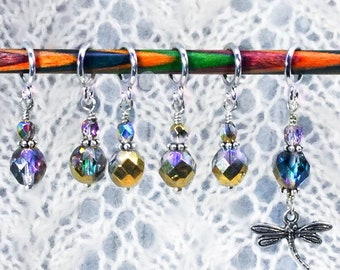 Stitch Markers for Knitting / Amber Gold Bronze Glass Bead Marker / Choose Your Charm  / Dragonfly / Celtic / Outlander
