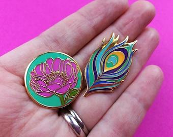 Enamel Pin Badge Set, Peony, Flower, Peacock Feather, Pin Badge, Hard Enamel Pin, Flair, Lapel Pin, Brooch, Button, Pin Game, Enamel Badge