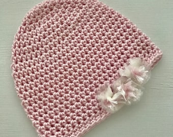 Baby Pink 100% Cotton Crocheted Beanie with Handmade Organza Flowers