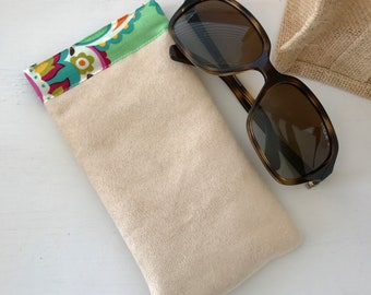 Sunglasses Pouch - Glasses Case - Padded - Snap Shut, Faux Suede and Paisley