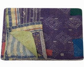 Vintage Kantha Quilt reversible blanket Throw Bohemian Bedspread Bedding kantha quilt