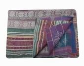 Vintage stripe Kantha quilt, throws,vintage Kantha throw are extra fine stitch