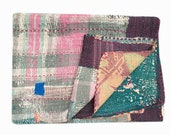 Vintage Kantha Quilt,Throw,Gudri,Ralli,Fair Trade,Handmade Indian Blanket Reversible Free Shipping