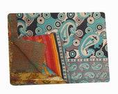 Reversible Cotton Kantha Quilt Sari Throw Bed Cover Blanket Vintage Handmade Cotton Kantha Quilt Queen Size