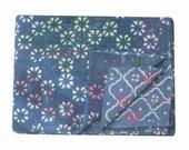Free shipping special hand block indigo kantha throws, Kantha Quilt,Twin Size Handmade kantha Bed Cover, Indigo Kantha Quilt, blanket, throw
