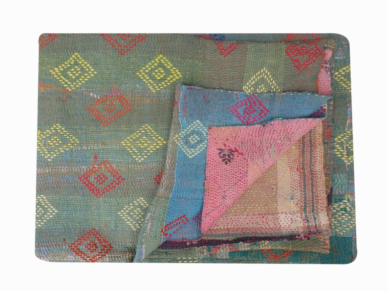 Vintage kantha quilt vintage sari quilt reversible quilt twin size quilt ethnic blanket recycled kantha handmade quilt bed cover