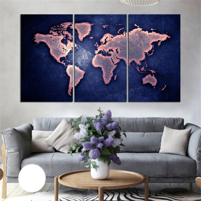 3 Panel Split Art World Map Canvas Print Triptych For: 3 Panel Split Purple/blue Color Art World Map Canvas Print