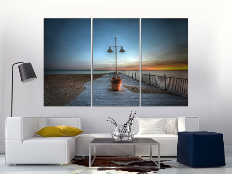 """Red Toned Sunset Beach Pier Canvas Red Orange Wall Art Pictures Split Multi  40/"""""""