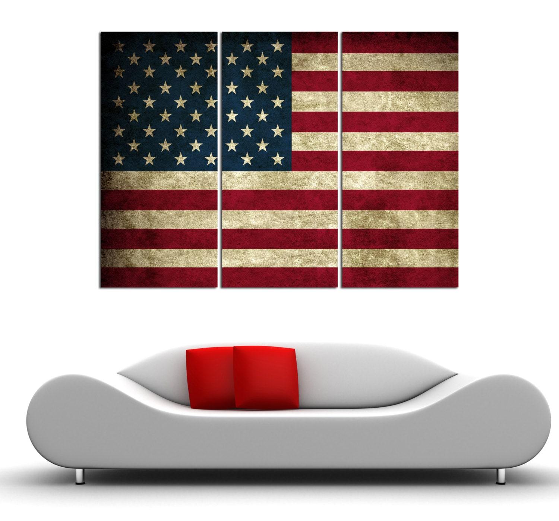 3 Panel Split amerikanische Flagge Vintage Leinwand   Etsy