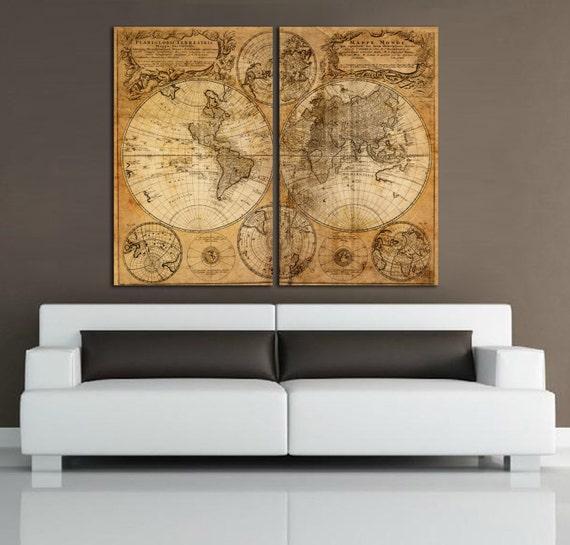 Old World Map Canvas.2 Panel Split Vintage World Map Canvas Print Old World Map Etsy