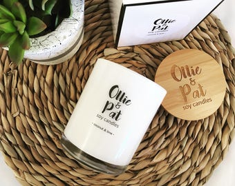 Ollie & Pat Classic Large Soy Candle with Bamboo Lid