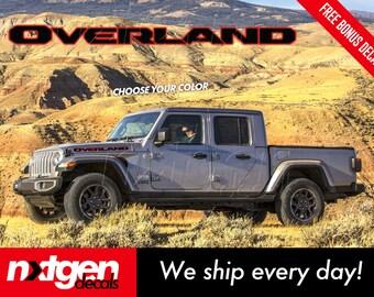 Jeep Gladiator OVERLAND Rubicon Hood Vinyl Decals Graphics Stickers Wrangler JL JT 2020 Set