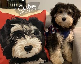 Custom PILLOW Pet Portrait - Pet Pillow Portrait Aesthetic Room Decor Pet Portrait Dog Memorial Bridal Shower Dog Gift (Basic Illustration)