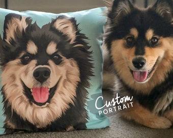 Custom PILLOW Pet Portrait - Pet Portrait Pillow Custom Pet Pillow Portrait Dog Pillow Art Dog Portrait Pet Loss Gift (Basic Illustration)