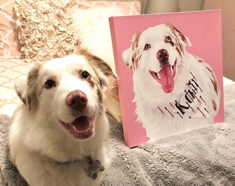 Pet Portrait Canvas Dorm Wall Hanging Bridesmaid Gift For Women Custom  Canvas Wall Art (Basic Illustration Canvas)