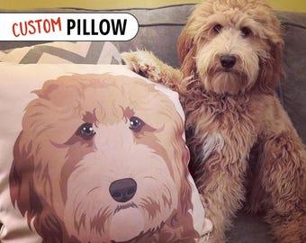Custom Pet Portrait Pillow | Custom Pet Portrait | Dog Lover Gift | Fiance Gift | Custom Pet Pillow | Pet Illustration | Pet Art Commission