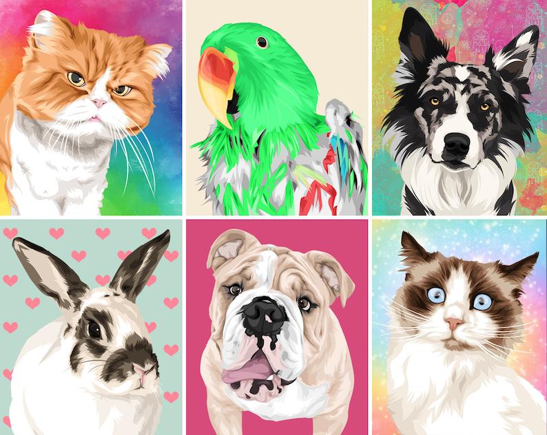Custom Pet Art Illustration Dog Portrait Gift Custom BLANKET Pet Portrait Custom Blanket Personalized Blanket Pet Portrait Gift