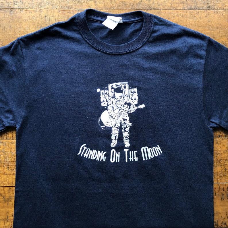 f33db05e0318f Lot Shirt-Standing on the Moon-Adult Uni T Shirt Sizes S M L XL XXL-Navy  Blue T Shirt