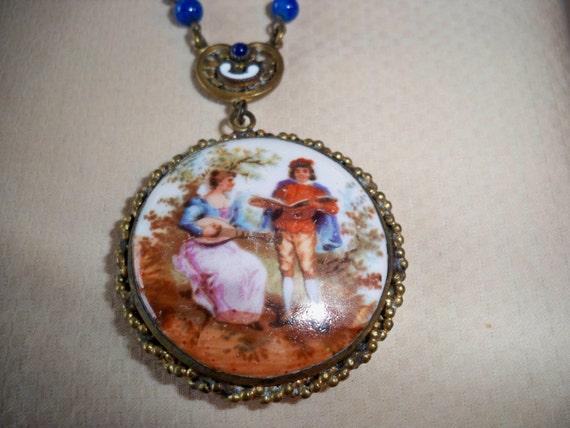 Vintage 1920s Deco Czech Blue Lapis Necklace, Bras