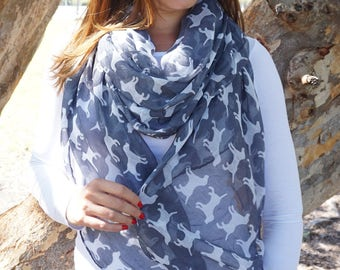 Dog Print Scarf / Mothers Day Gift / Spring Summer scarf / Women Scarves / Infinity Scarves / Mom Gift / Fashion Accessories / Gifts For Her