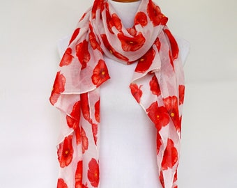 Floral Print Scarf / White Red Scarf / Red Poppy Womens Viscose Scarves / Fashion scarf / Boho Scarf Shawl / Women's Scarf / Gifts For Her