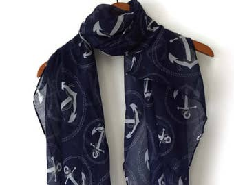 Navy Scarf / Spring Summer scarf / Women Scarves / Infinity Scarves / Mothers Day Gift / Mom Gift / Fashion Accessories / Gifts For Her